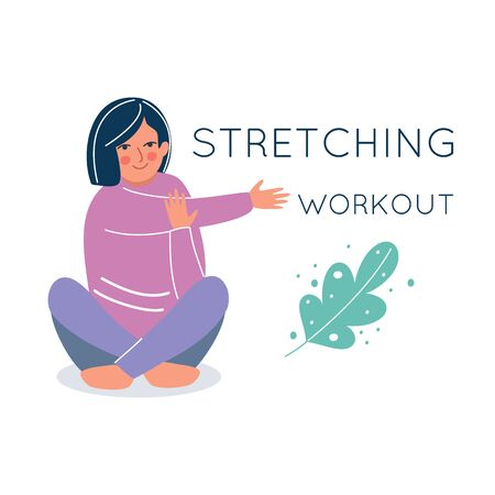 Woman sitting in Lotus position and stretching her arm. Sport workout and warm up concept. Yoga exercises. Character design. Vector illustration cartoon flat style. Vectores