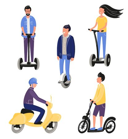 Happy smiling people using electric scooters or unicycle. Young men riding on eco city transport for traveling. Mono wheel. Active leisure. Vector illustration cartoon flat funky style. Motorcycle delivering transport. Vectores