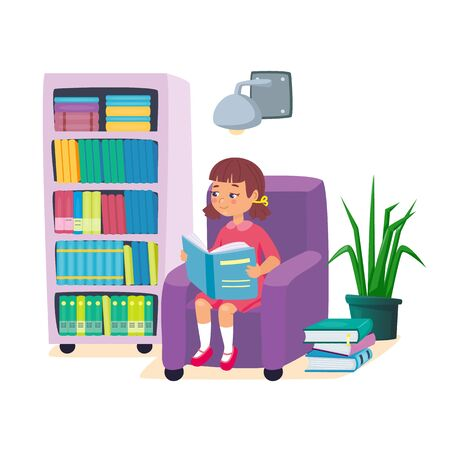 Little girl reading a book and sitting in armchair with bookshelf and wall lamp. Kids learning education concept. Childrens intellectual hobby. Smart clever child. Vector illustration, cartoon flat style. 向量圖像