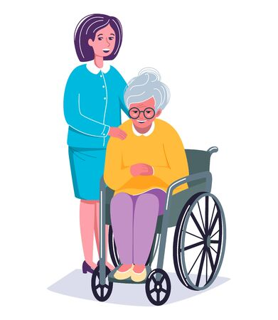 Old smiling woman sitting in the wheelchair and a nurse standing near her.