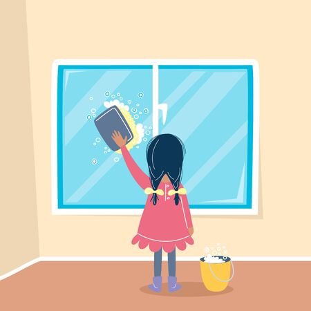 Girl cleaning a window by sponge and soap. Child householding. Washing concept. Vector illustration, cartoon flat style. Vectores