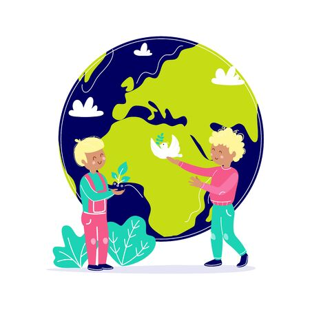 Kids take care about Earth. Children protect planet. Ecology environment attention concept with child and globe. Vector illustration flat cartoon style. Vectores