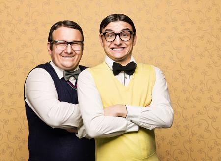 Portrait of two male nerds 写真素材