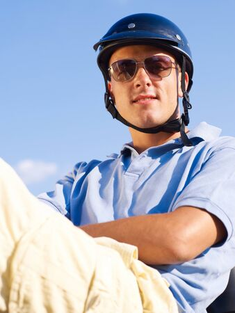 crash helmet: Portait of biker Stock Photo