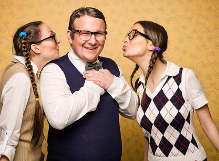 Two female nerds in love in male nerd
