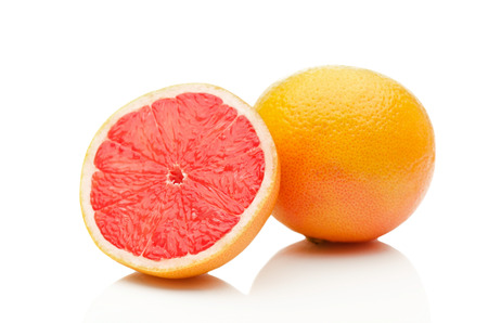 Grapefruit on white background Stock Photo