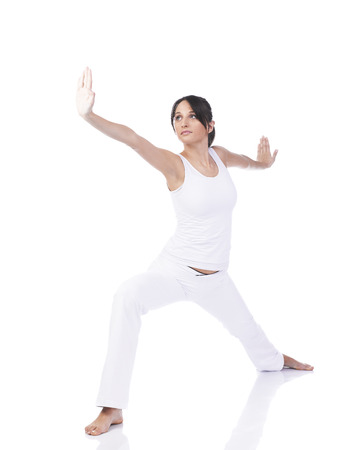 tai chi: Young woman doing Tai Chi