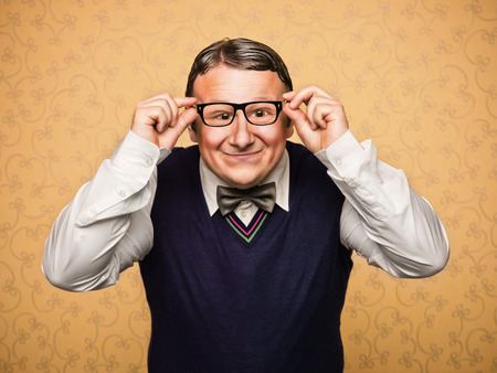 Portrait of male nerd Stock Photo