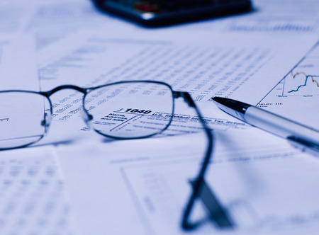 taxable: Tax Form with glasses Stock Photo