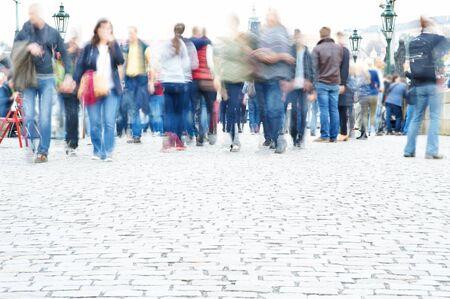 People walking, motion blur