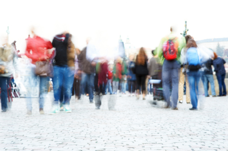 exposure: People walking, motion blur