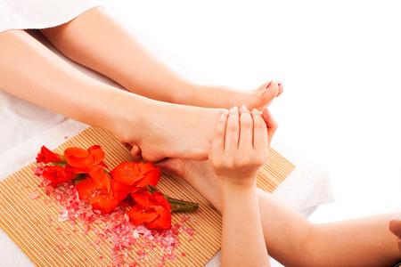 hand massage: Foot massage Stock Photo