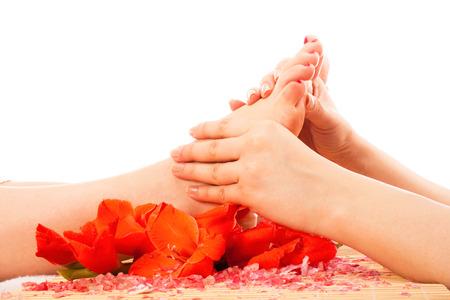 pressure massage: Foot massage Stock Photo
