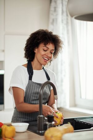 Charming mixed race woman in apron standing in kitchen ad washing yellow paprika in sink. On kitchen counter are different sorts of vegetables.