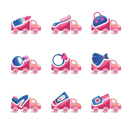 delivery service: Icons for women delivery things