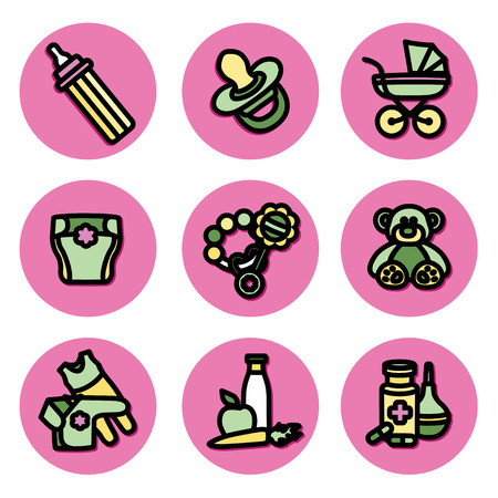 baby diaper: The icons on the theme of children things Illustration