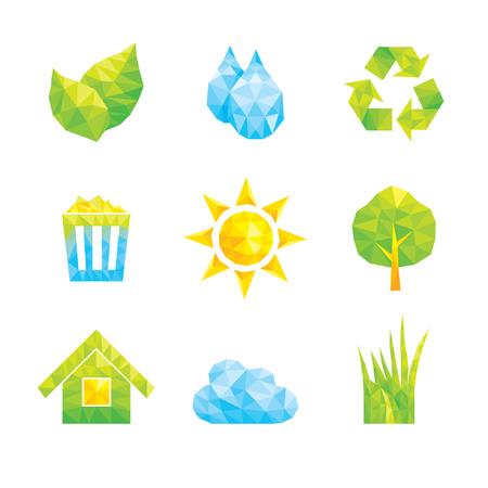 De pictogrammen op het thema van de Ecology