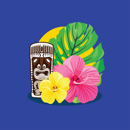 tiki party: Composition on the theme of Hawaii Illustration