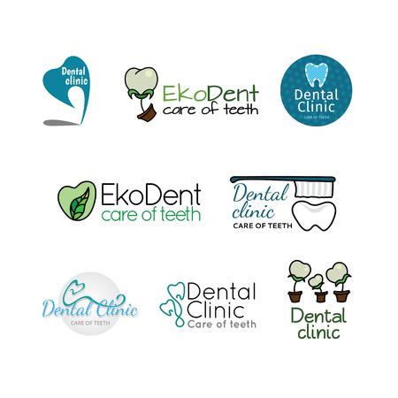 Logo's voor tandheelkundige kliniek. Kleur set Stock Illustratie