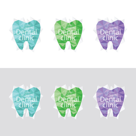 Logos for dental clinic. Color set