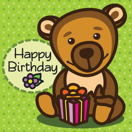 happy birthday greeting card. vector illustration Illustration