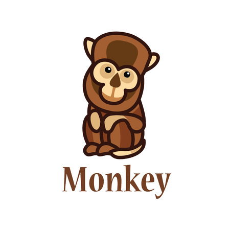 which: A picture which depicts a brown monkey Illustration