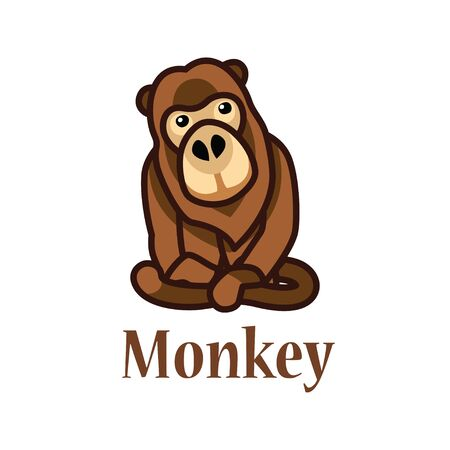 depicts: A picture which depicts a brown monkey Illustration