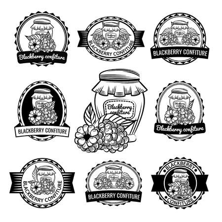 Berry confiture label set illustration on white background.