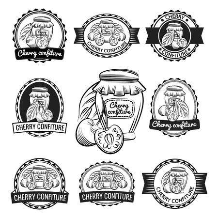 Preserves label set. Cherry confiture vector illustration.