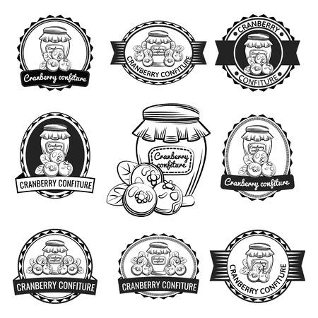 Preserves label set. Cranberry confiture vector illustration.