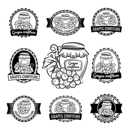 Grapesconfiture confiture jam preserve. Lable logo set