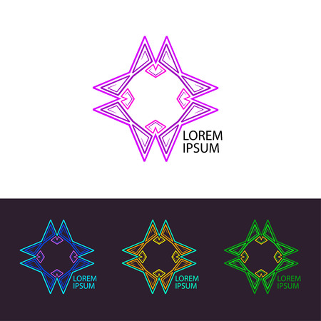 Logo hypnosis. Psychedelic trans logo icon set. Illustration