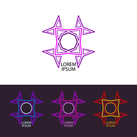 Abstraction illustration 80th. Psychedelic trans logo icon set