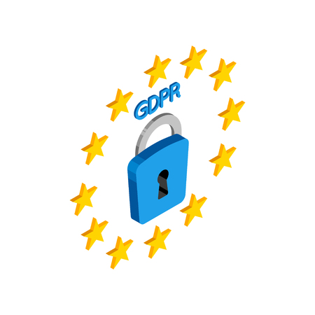 GDPR isometric illustration. General data protection relation vector  イラスト・ベクター素材