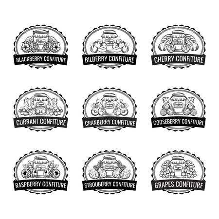Vector illustration. Berry labels set isolated Vecteurs