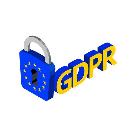 GDPR isometric illustration. General data protection relation vector Illustration