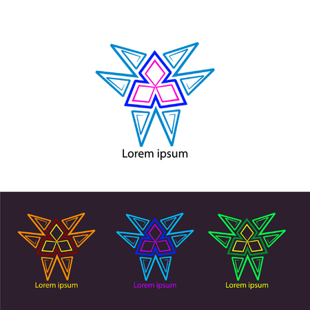 Abstraction illustration 80th. Psychedelic trans logo icon set.