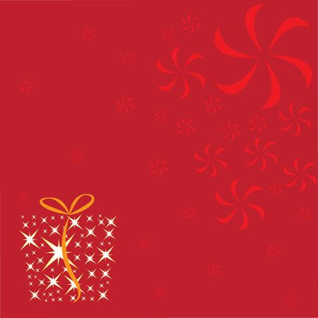 box and ribbon on the red background