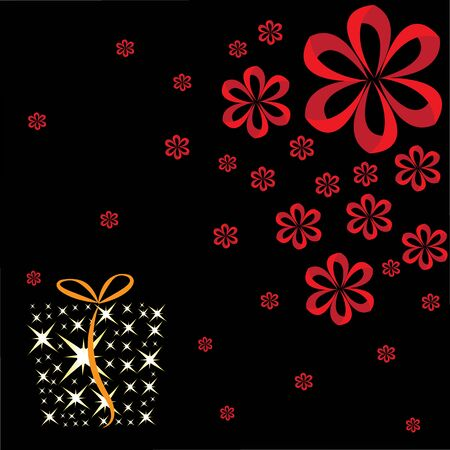 box and ribbon on the dark background