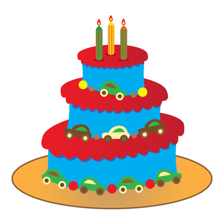 three layer:  big round birthday cake for a boy isolated on white