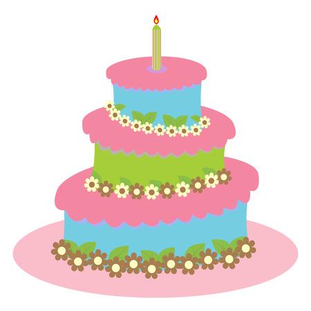 trozo de pastel: gran pastel de cumplea�os y vuelta para una chica aislados en blanco Vectores