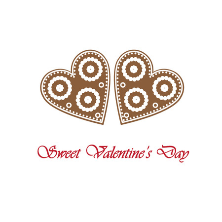 sweet, cute, simple gingerbread hearts for Valentine s Day Vector