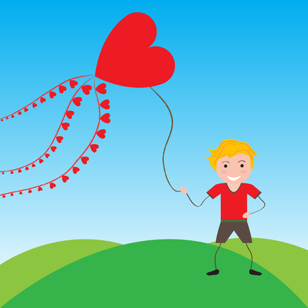 Smiling boy with a kite in the shape of heart Vector