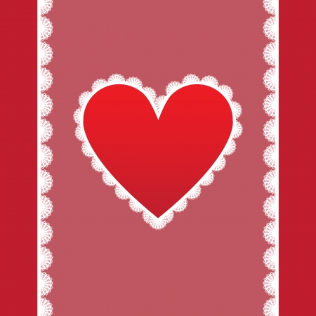 elegant card for Valentine s Day with lacy heart Vector