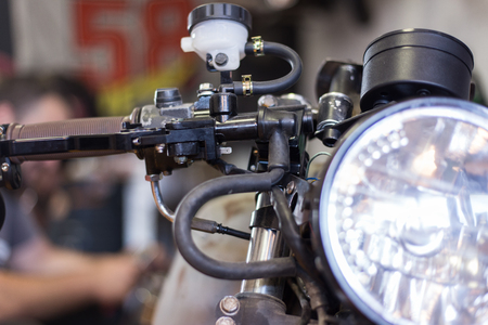 Close up shoots of customized motorcycle.