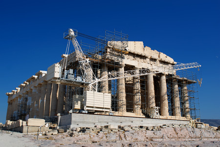 the arts is ancient: Reconstruction  f destroyed the Acropolis in Athens  Greece  Stock Photo