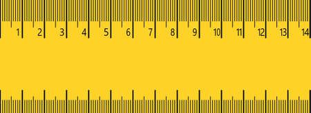 14 cm measure ruler. 14 centimeter metric ruler with yellow and black colors.