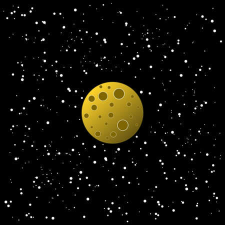 Starry sky and moon illustration. Black, white and yellow colours.