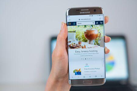 Barcelona / Spain 05 25 2019: Walmart web site on mobile phone screen. Mobile version of Walmart company web page on smartphone. Official web page of Walmart.