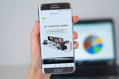 Barcelona / Spain 06 10 2019: Acer web site on mobile phone screen. Mobile version of Acer company web page on smartphone. Official web page of Acer.